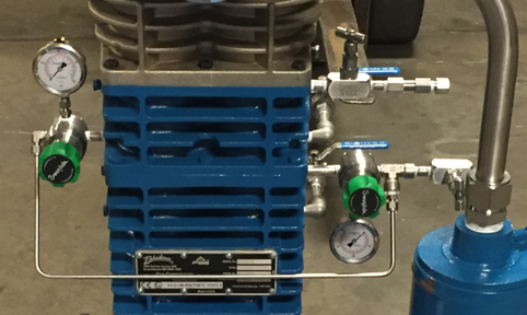 typical nitrogen purge kit on a triple-seal Blackmer HD363C compressor.