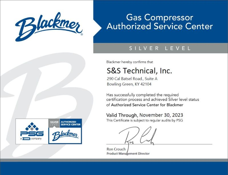 certified as a Silver Level Gas Compressor Authorized Service Center (ASC)