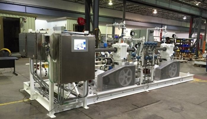 Custom LPG railcar unloading compressor system
