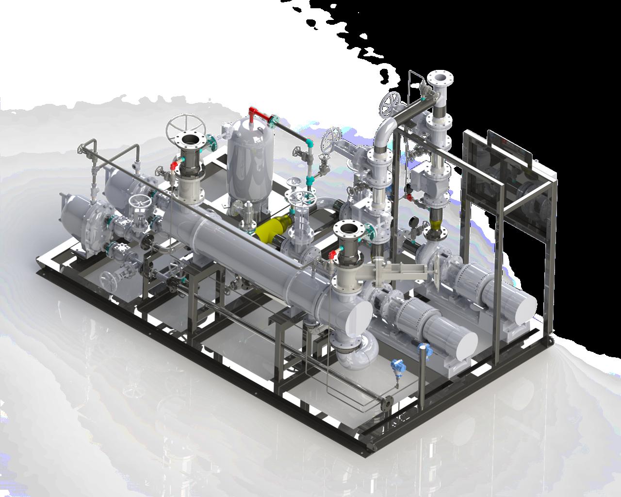 heat exchanger system 3d rendering